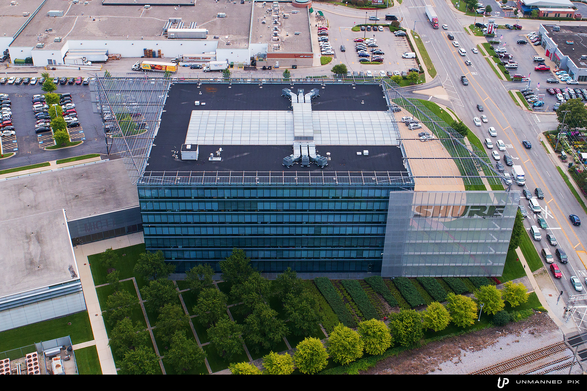 aerial view of Shure building, facing east, photographed by jacob rosenfeld with unmannedpix.com