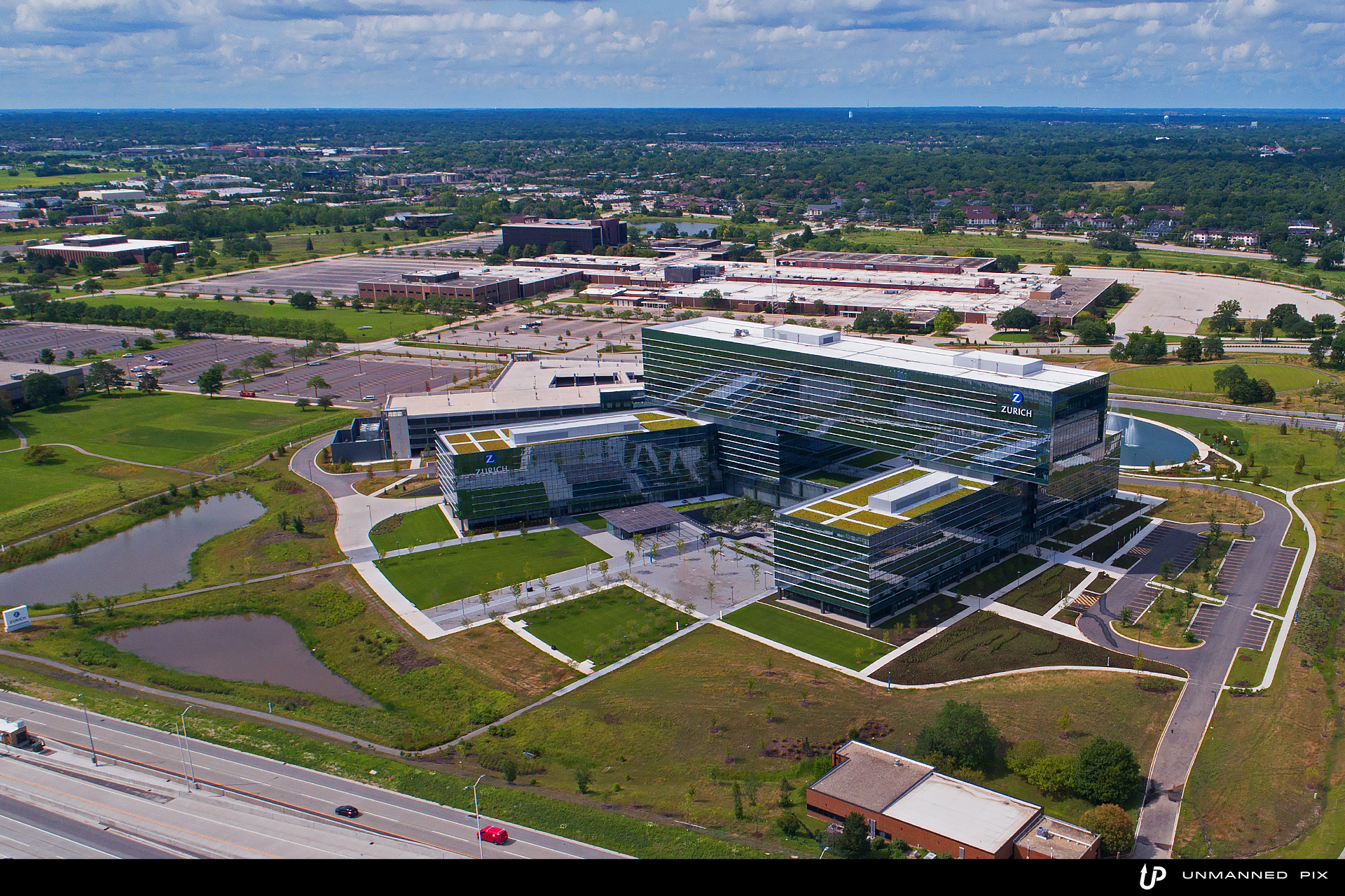 aerial view of the zurich north america headquarters, facing north, photographed by jacob rosenfeld for unmannedpix.com