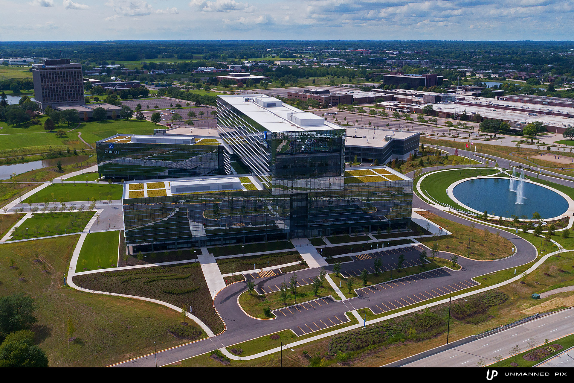 aerial view of the zurich north america headquarters, facing west, photographed by jacob rosenfeld for unmannedpix.com