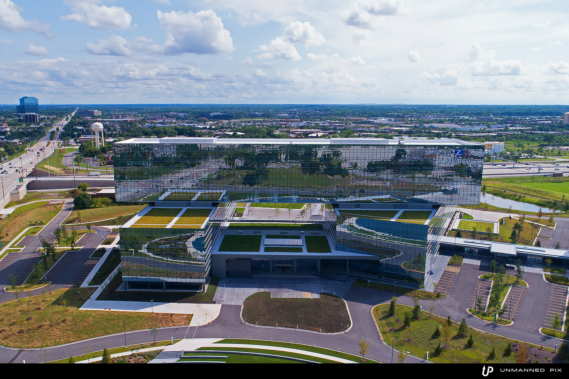 aerial view of the zurich north america headquarters, facing south west, photographed by jacob rosenfeld for unmannedpix.com